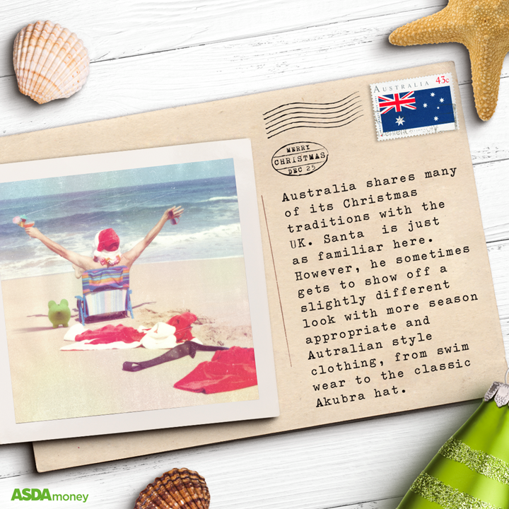 Christmas postcard from Australia on table with polaroid and Christmas decorations